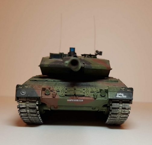 Model of Leopard 2A6M - Front View - 1/35 Scale - Built By Wright Built - Revell Models