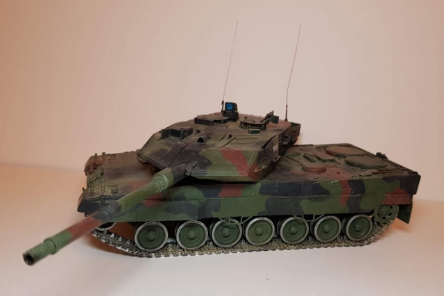 Model of Leopard 2A6M - Angle View - 1/35 Scale - Built By Wright Built - Revell Models