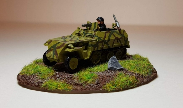 Model of Sd. Kfz 250/1 - Angle View - 1/100 Scale (15mm) - Built By Wright Built - Battlefront Models (Flames of War)