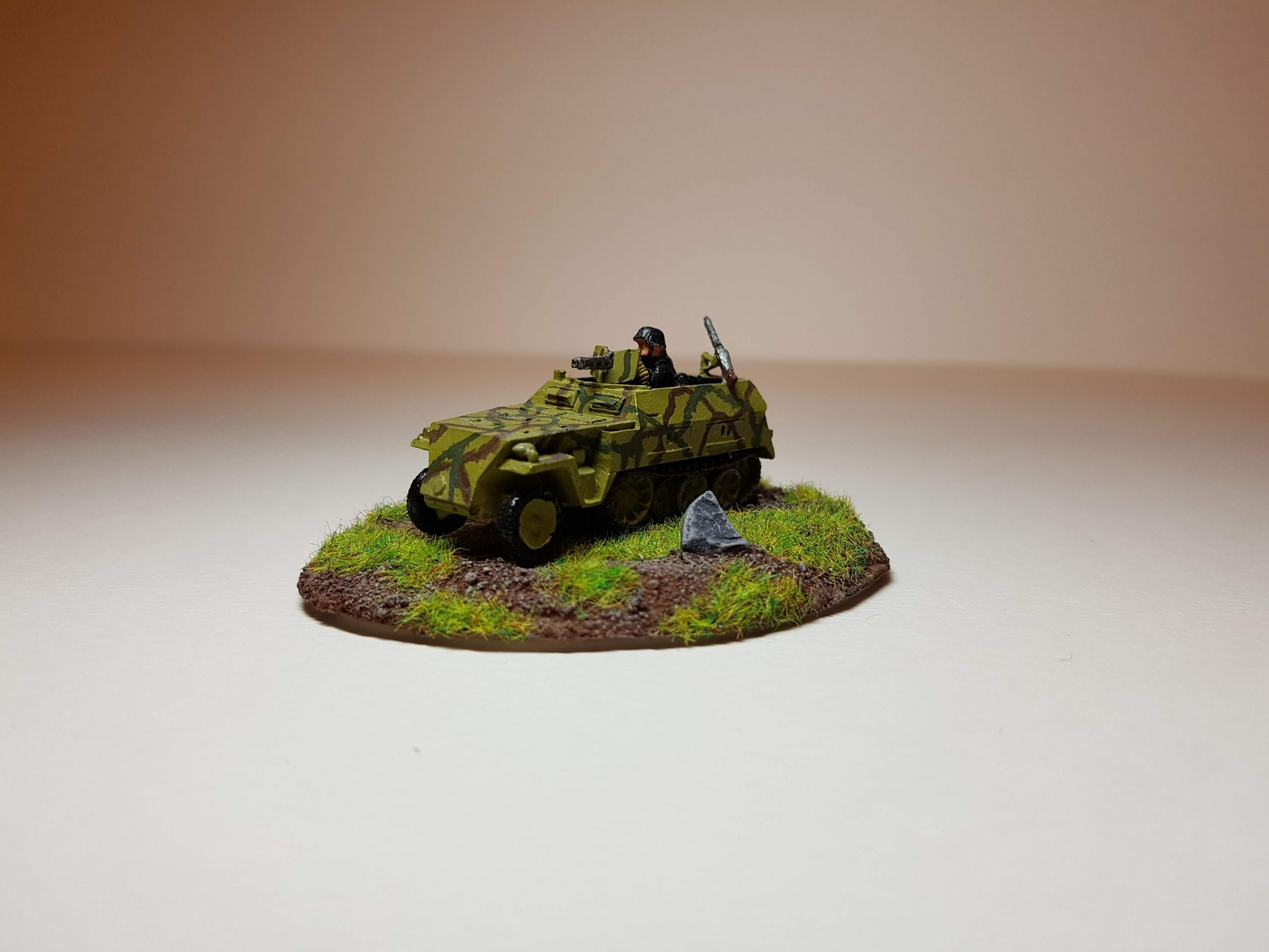 Model of Sd. Kfz 250/1 - Angle View (Far) - 1/100 Scale (15mm) - Built By Wright Built - Battlefront Models (Flames of War)