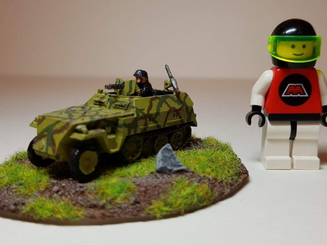 Model of Sd. Kfz 250/1 - Scale View (with LEGO Minifigure) - 1/100 Scale (15mm) - Built By Wright Built - Battlefront Models (Flames of War)