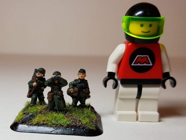 Model of Germans (WW2) - Scale View (with LEGO Minifigure) - 1/100 Scale (15mm) - Built By Wright Built - Battlefront Models (Flames of War)