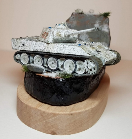Model of Winter Panther Tank (WW2) - Angle View - 1/76 Scale - Built By Wright Built - Airfix Models