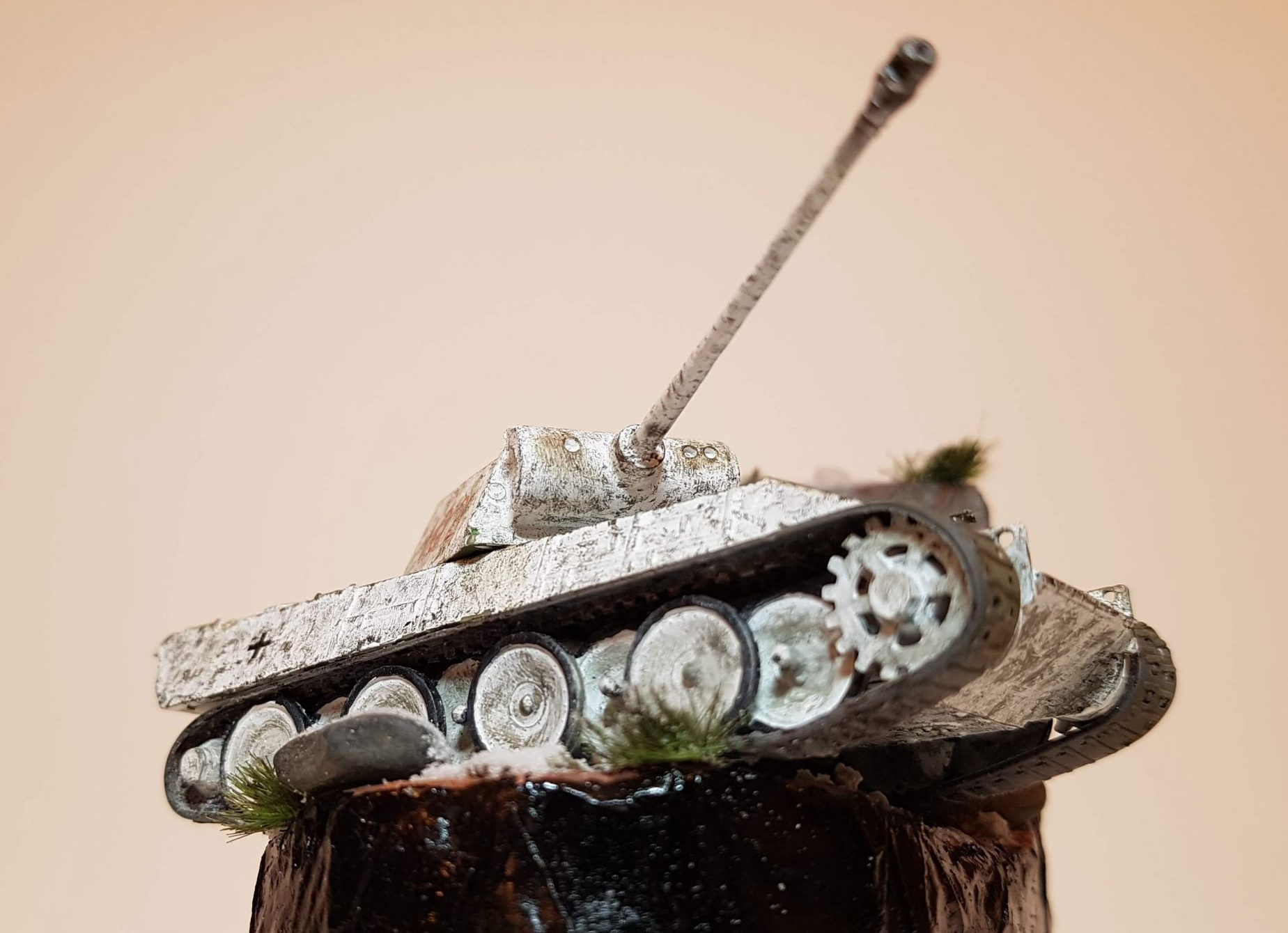Model of Winter Panther Tank (WW2) - Angle View (Lower) - 1/76 Scale - Built By Wright Built - Airfix Models