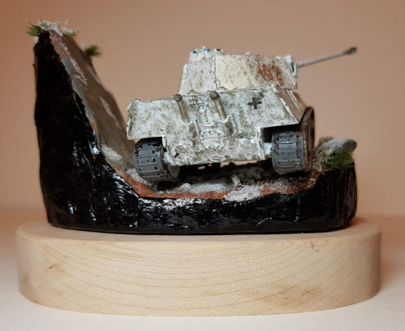 Model of Winter Panther Tank (WW2) - Rear View - 1/76 Scale - Built By Wright Built - Airfix Models