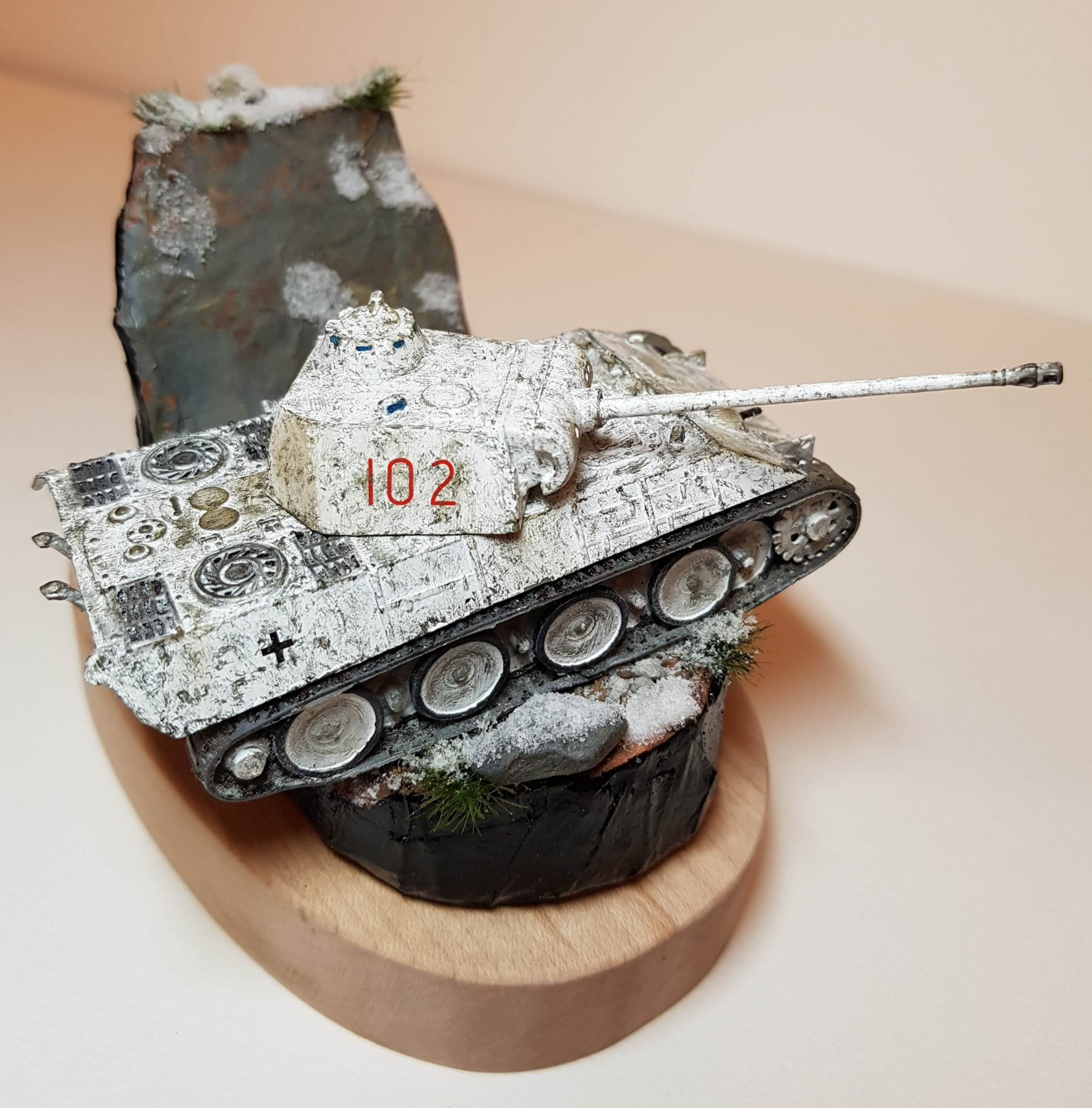 Model of Winter Panther Tank (WW2) - Angled View 2 - 1/76 Scale - Built By Wright Built - Airfix Models
