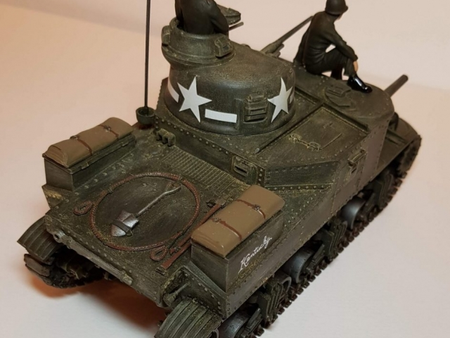 Model of M3 Lee (WW2) - Rear Angled View - 1/35 Scale - Built By Wright Built - Revell Models