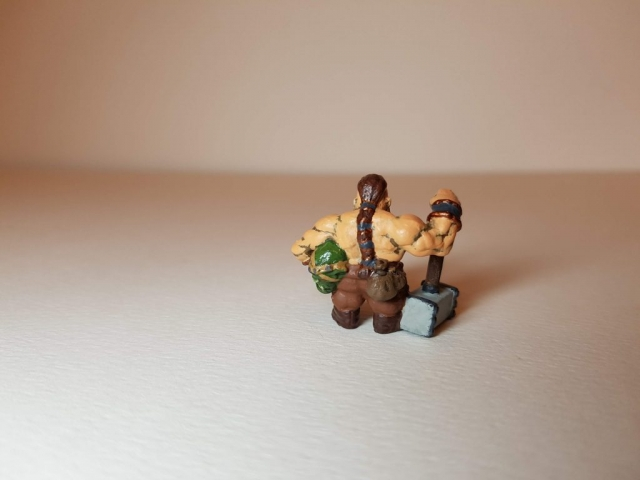 Painted Bjorn Steeleblood (Dwarf) - Rear View - 28mm Scale - 3D Printed By Wright Built on Sparkmaker FHD - Designed by Capritor (Thingiverse)