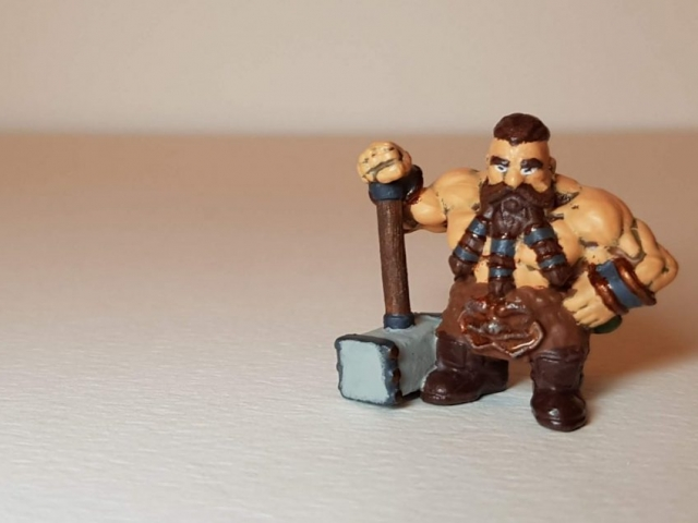 Painted Bjorn Steeleblood (Dwarf) - View 4 - 28mm Scale - 3D Printed By Wright Built on Sparkmaker FHD - Designed by Capritor (Thingiverse)