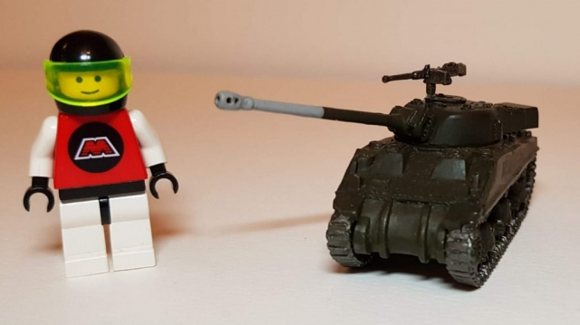 Model of M4 Sherman Firefly (WW2) - Scale View (with LEGO Minifigure) - 1/100 Scale (15mm) - Built By Wright Built - Battlefront Models (Flames of War)