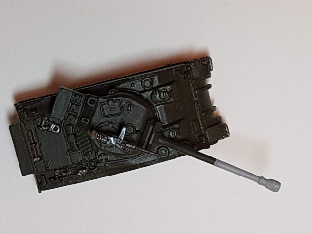 Model of M4 Sherman Firefly (WW2) - Top View - 1/100 Scale (15mm) - Built By Wright Built - Battlefront Models (Flames of War)