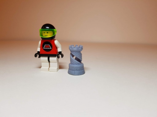 Rook (Chess) - Scale View (with LEGO Minifigure) - 3D Printed By Wright Built on Sparkmaker FHD - Designed by MAKE (Thingiverse)