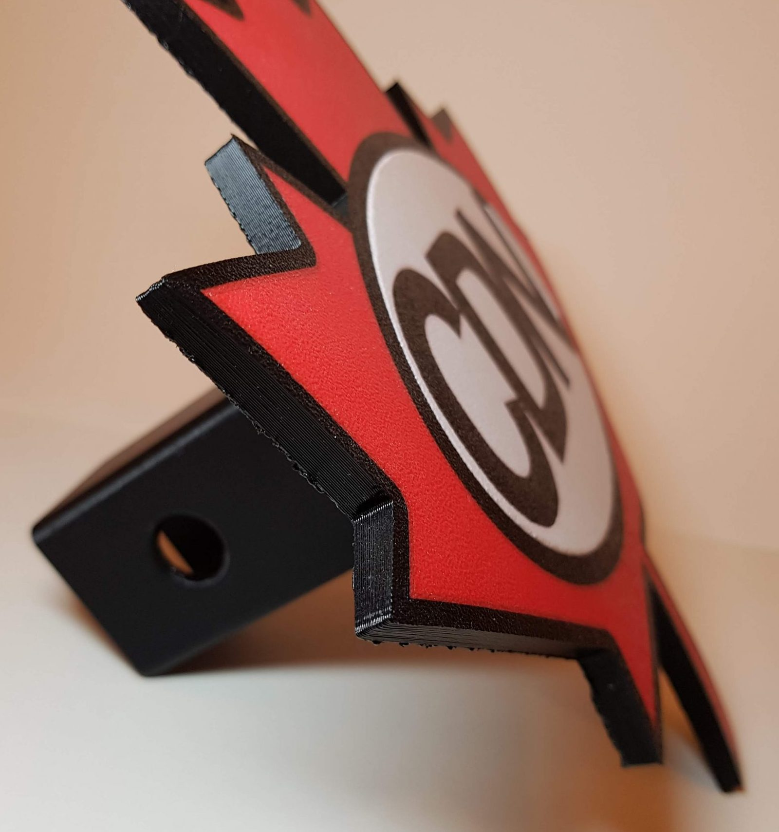 Canadian Trailer Hitch Cover - View 2 - 3D Printed By Wright Built on Prusa Mk2.5s MMU2s - Designed by Wright Built