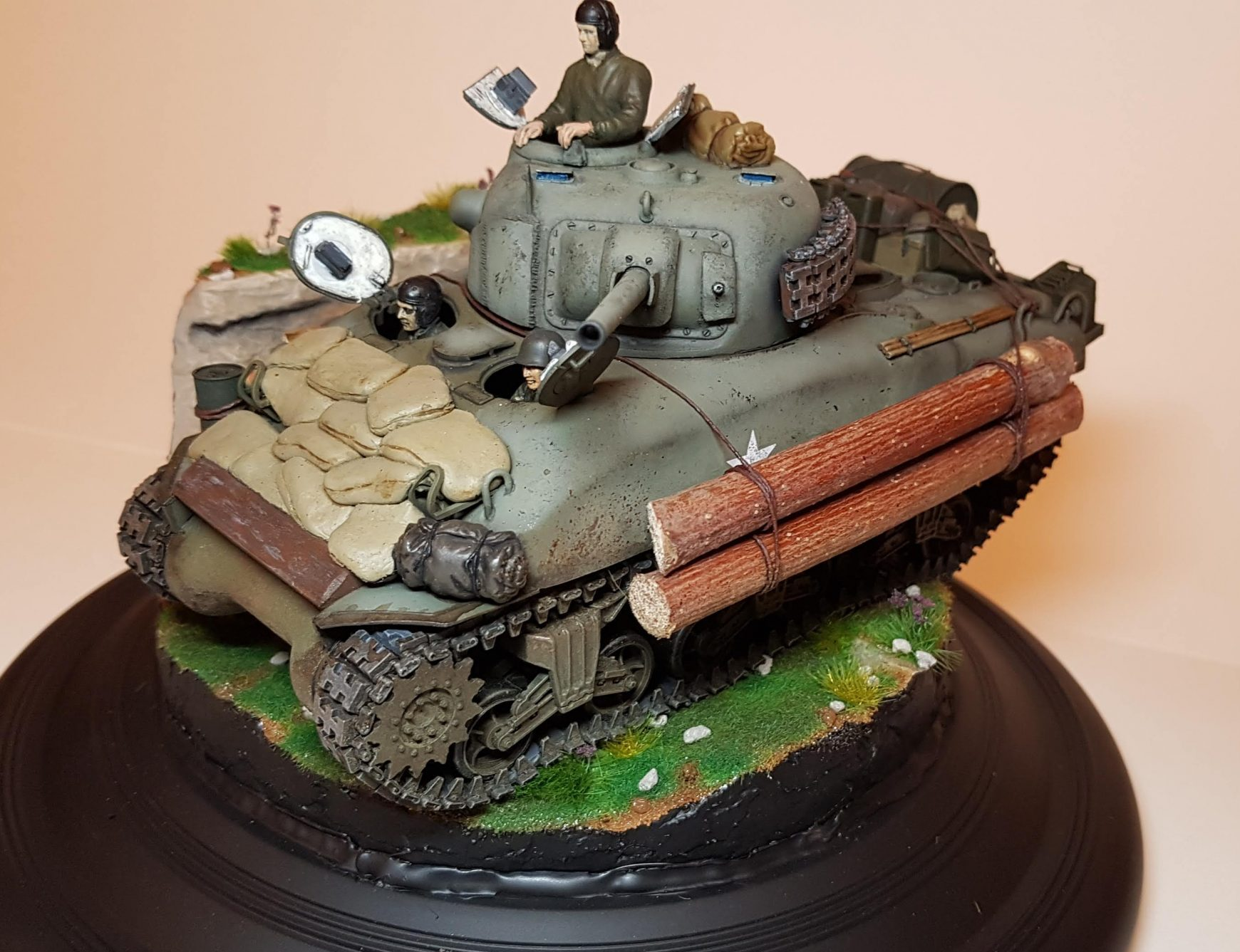 Kit-bashed - M4 Sherman (WW2) - Angle View - 1/35 Scale - Built By Wright Built - Tamiya, Italeri, Formations, Others, Sculpted