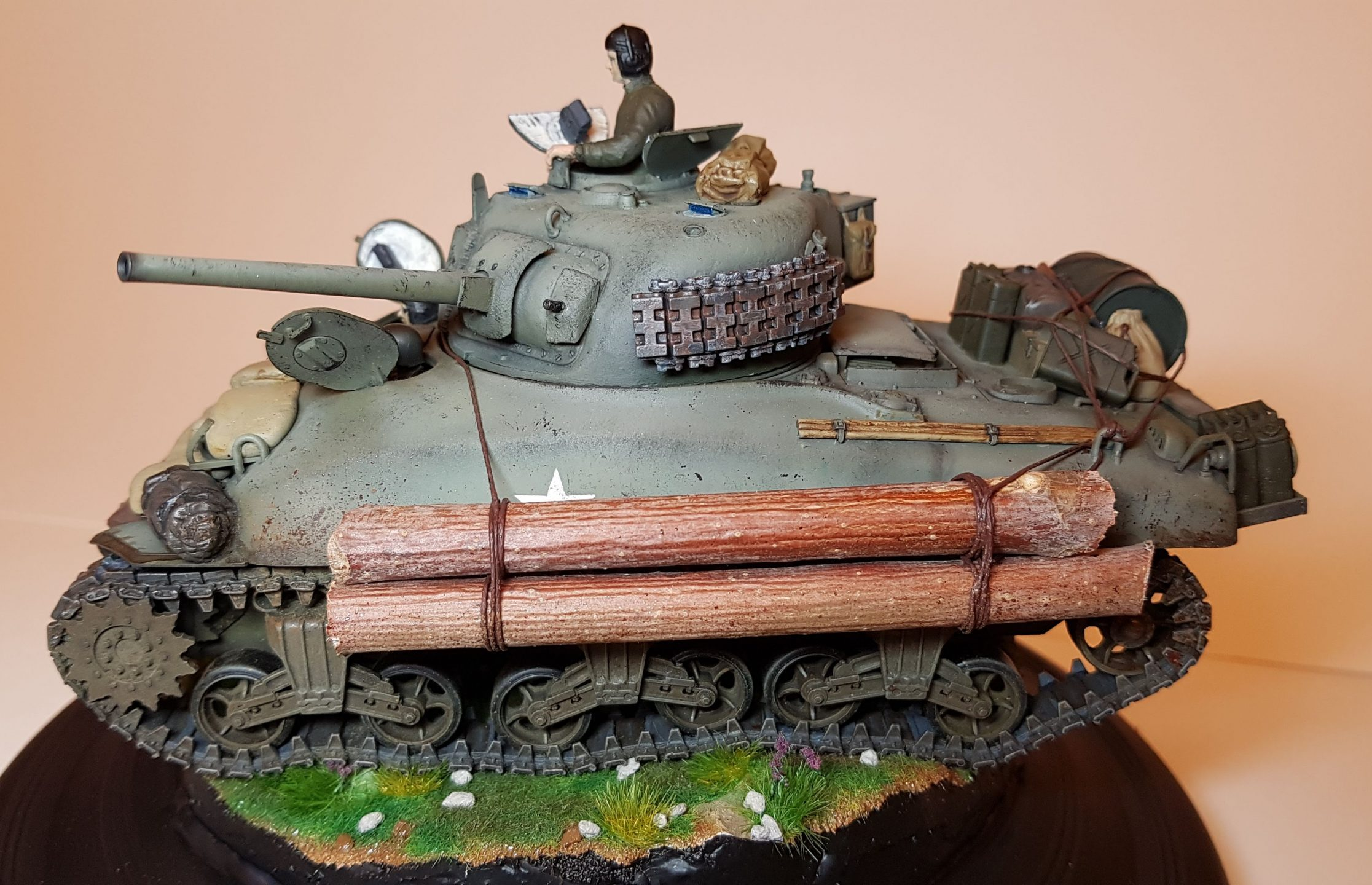 Kit-bashed - M4 Sherman (WW2) - Side View - 1/35 Scale - Built By Wright Built - Tamiya, Italeri, Formations, Others, Sculpted
