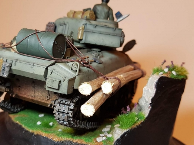 Kit-bashed - M4 Sherman (WW2) - Rear View - 1/35 Scale - Built By Wright Built - Tamiya, Italeri, Formations, Others, Sculpted