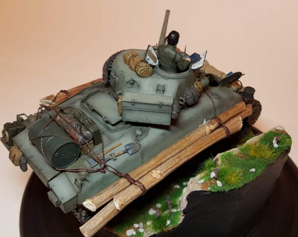 Kit-bashed - M4 Sherman (WW2) - Rear Angle View - 1/35 Scale - Built By Wright Built - Tamiya, Italeri, Formations, Others, Sculpted