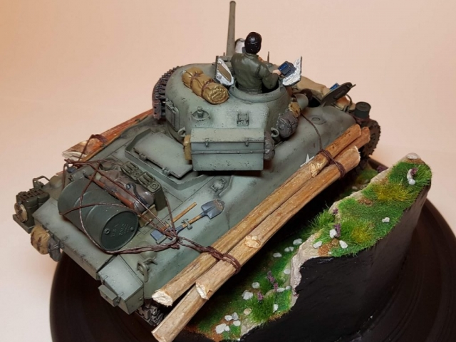 Kit-bashed - M4 Sherman (WW2) - Rear Angle View 2 - 1/35 Scale - Built By Wright Built - Tamiya, Italeri, Formations, Others, Sculpted