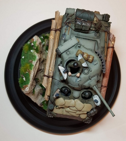 Kit-bashed - M4 Sherman (WW2) - Top View - 1/35 Scale - Built By Wright Built - Tamiya, Italeri, Formations, Others, Sculpted