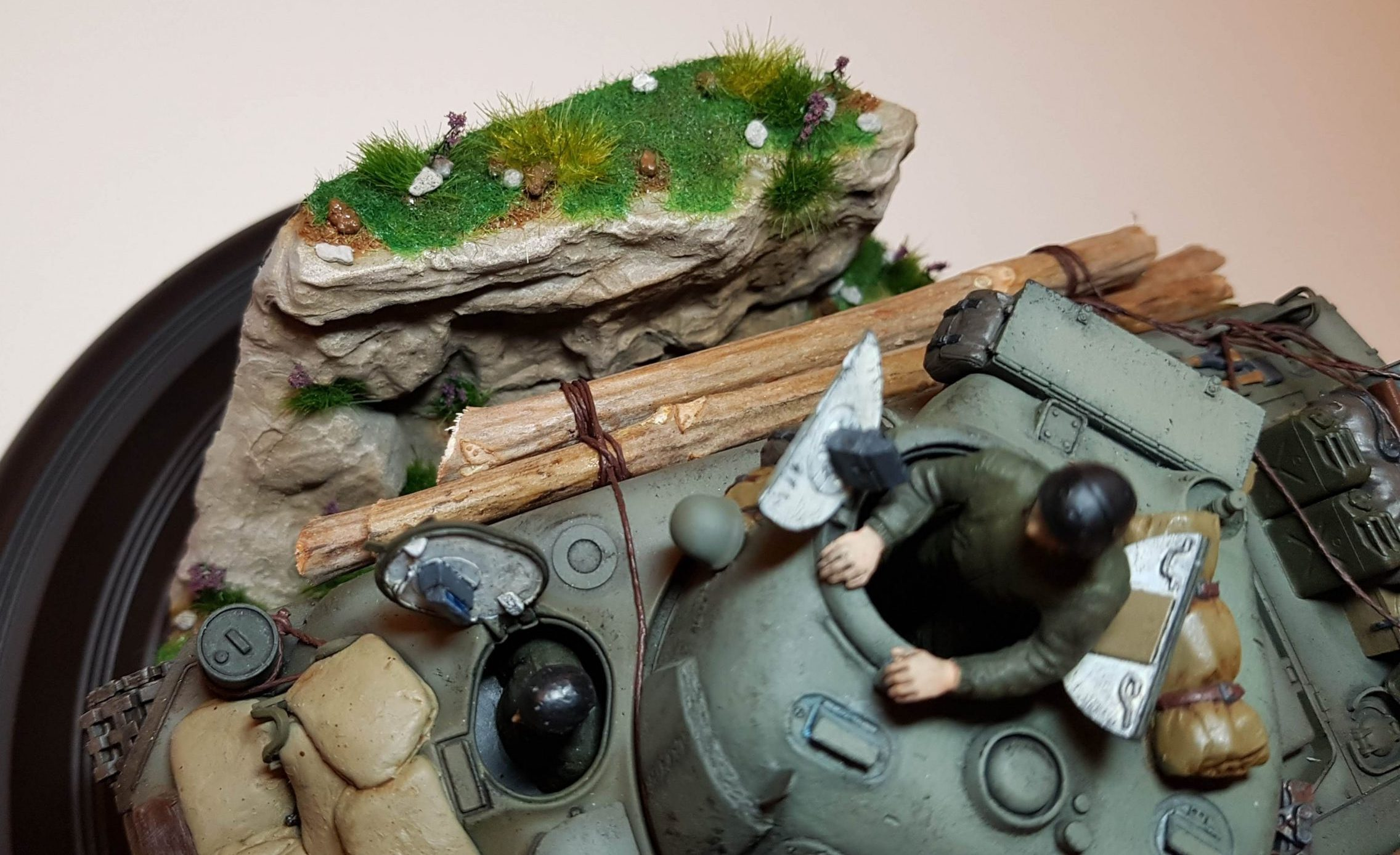 Kit-bashed - M4 Sherman (WW2) - Groundwork Closeup - 1/35 Scale - Built By Wright Built - Tamiya, Italeri, Formations, Others, Sculpted