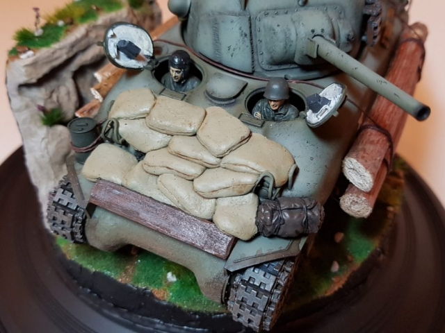 Kit-bashed - M4 Sherman (WW2) - Sculpted Sandbags Closeup - 1/35 Scale - Built By Wright Built - Tamiya, Italeri, Formations, Others, Sculpted