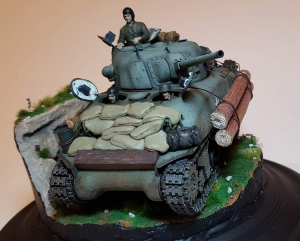 Kit-bashed - M4 Sherman (WW2) - Angle View 3 - 1/35 Scale - Built By Wright Built - Tamiya, Italeri, Formations, Others, Sculpted