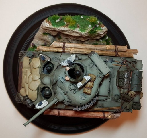 Kit-bashed - M4 Sherman (WW2) - Top View 2 - 1/35 Scale - Built By Wright Built - Tamiya, Italeri, Formations, Others, Sculpted