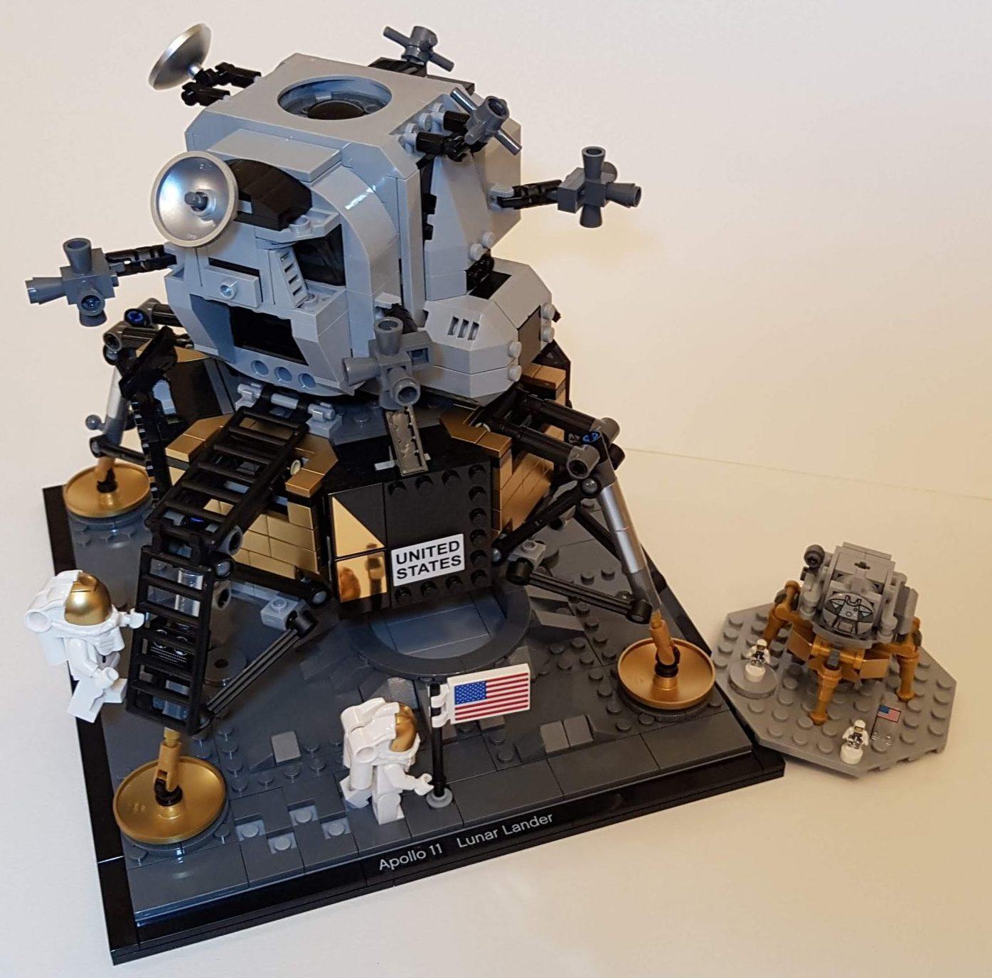 NASA Apollo 11 Lunar Lander (LEGO 10266) Compared NASA Apollo Saturn V Lunar Lander (LEGO 21309) - Built By Wright Built
