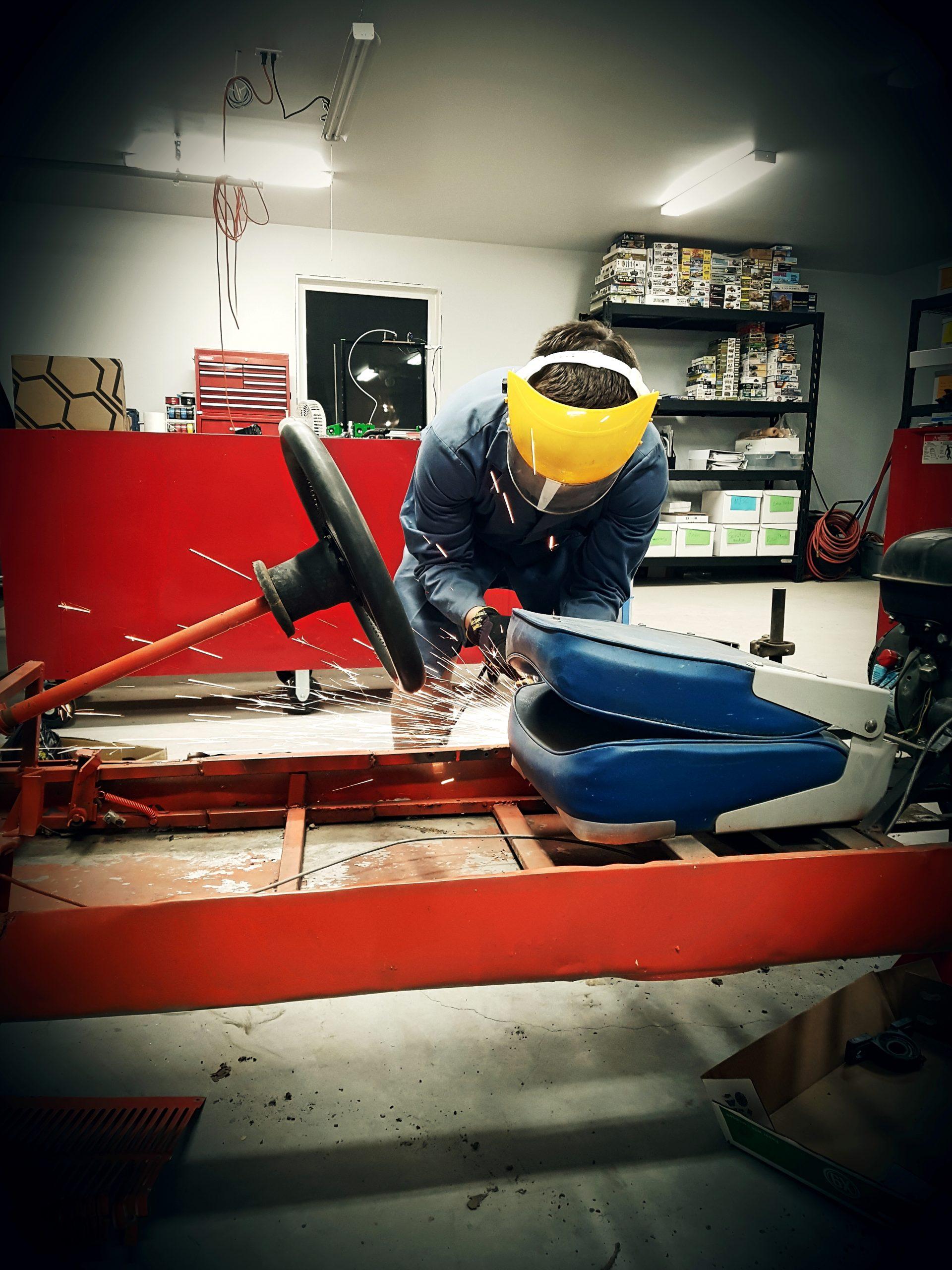 Grinding Go-Cart frame (lots of sparks)