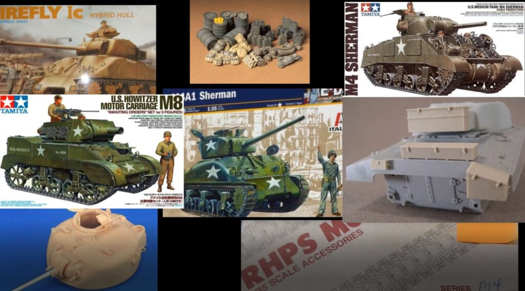 All the products used to build this M4 Sherman model