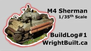 Dramatic outline of the finished 1/35 scale Sherman tank model built.