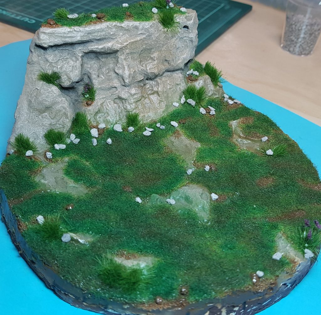 Static grass applied to the base